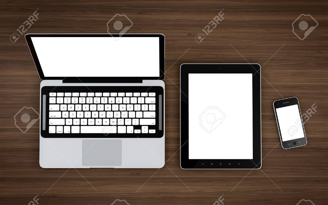 3D illustration of electronic devices on wooden table Stock Illustration - 17439063