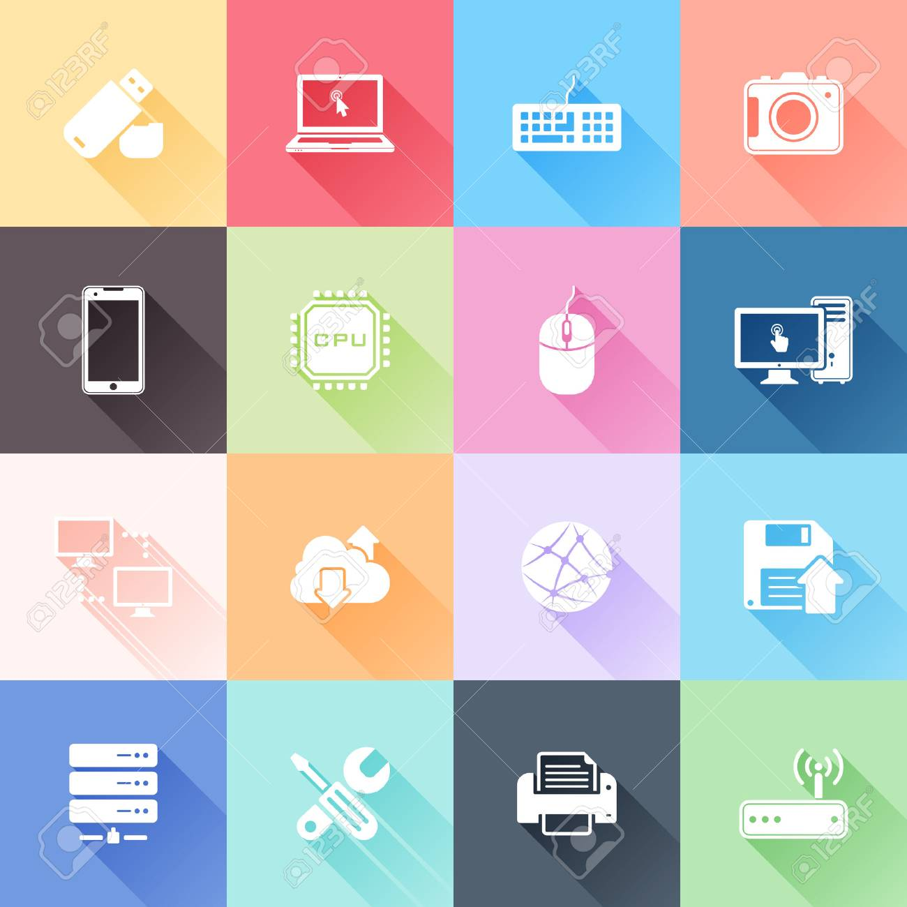 Vector set of 16 flat technology icons with long shadow Stock Vector - 25279958