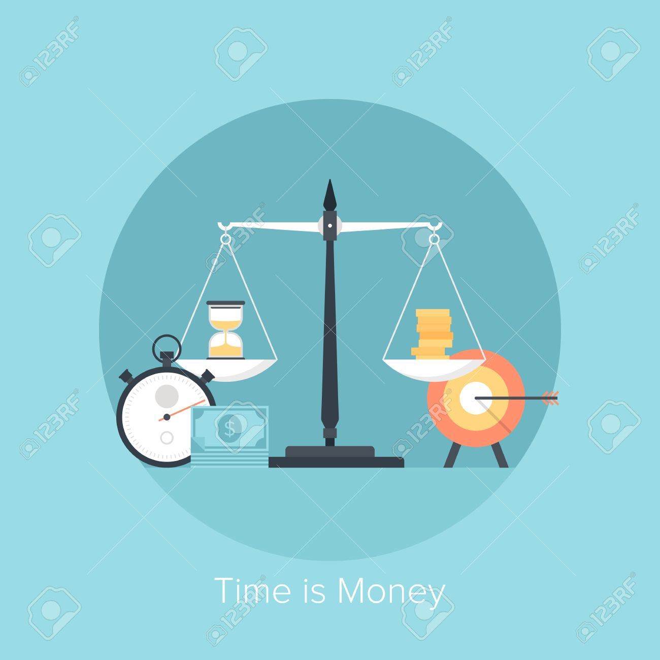 Vector illustration of time is money flat design concept isolated on blue background. - 27906281
