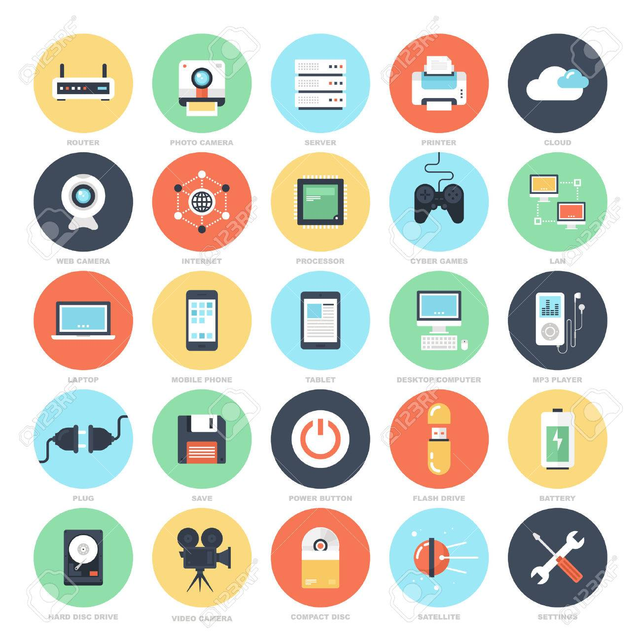 Abstract vector set of colorful flat technology and hardware icons. Creative concepts and design elements for mobile and web applications. - 43549803