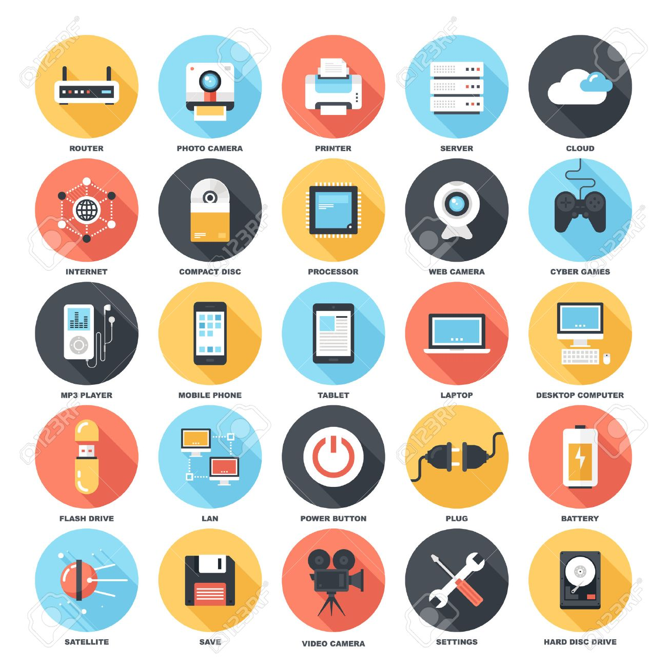 Abstract vector set of colorful flat technology and hardware icons with long shadow. Creative concepts and design elements for mobile and web applications. - 43549809