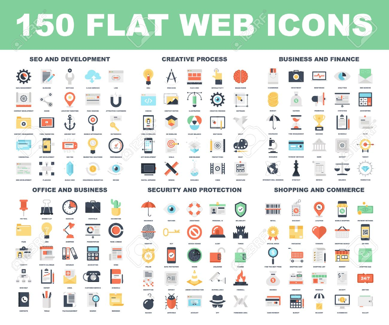 Vector set of 150 flat web icons on following themes - SEO and development, creative process, business and finance, office and business, security and protection, shopping and commerce. Stock Vector - 43549813
