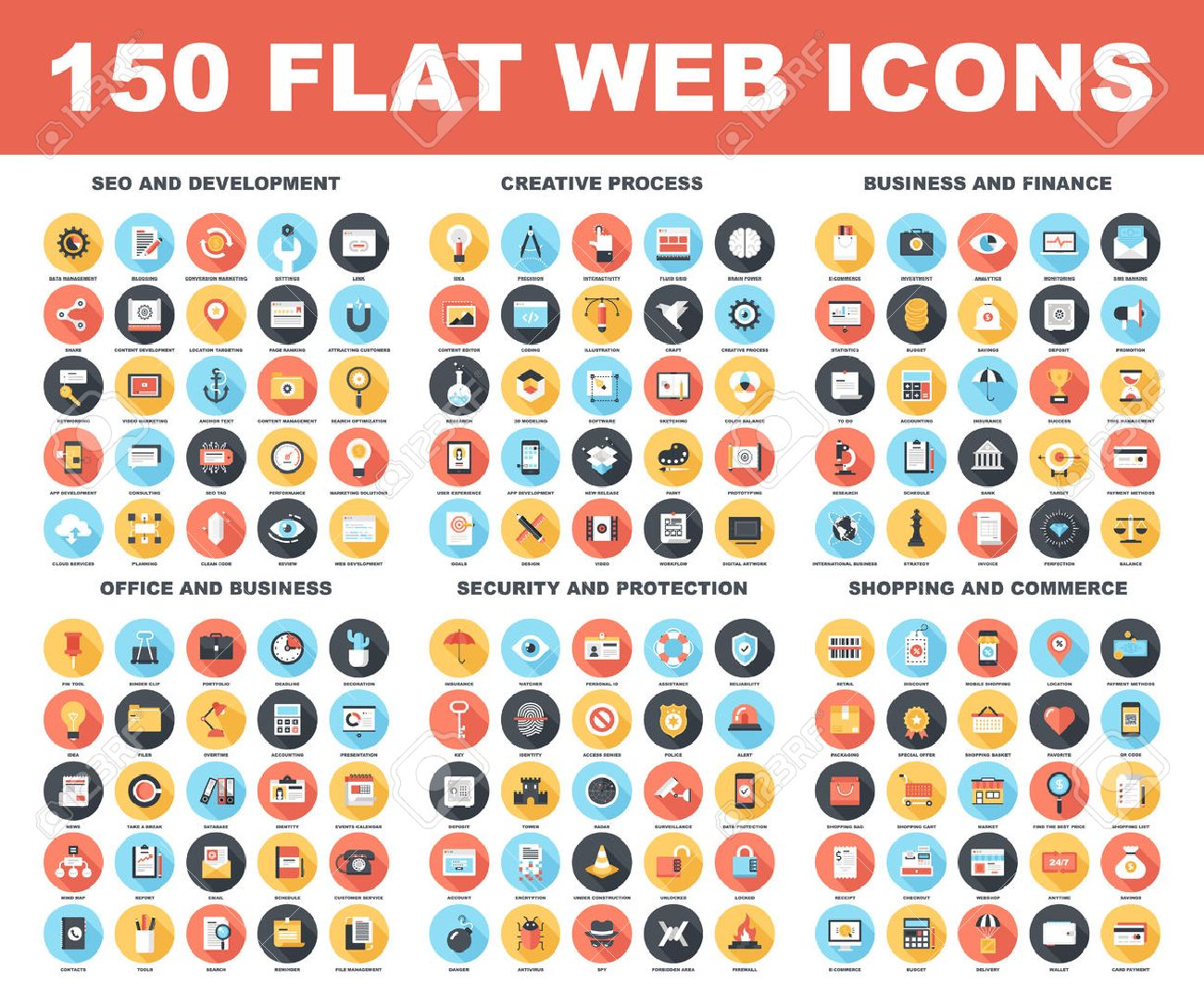 Vector set of 150 flat web icons with long shadow on following themes - SEO and development, creative process, business and finance, office and business, security and protection, shopping and commerce - 43549818