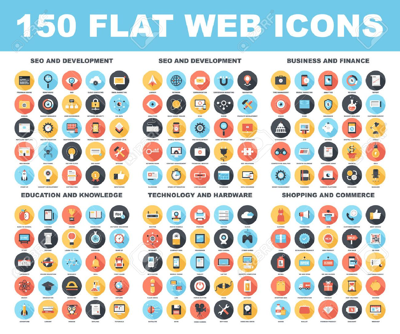 Vector set of 150 flat web icons with long shadow on following themes - SEO and development, business and finance, education and knowledge, technology and hardware, shopping and commerce. - 43549819