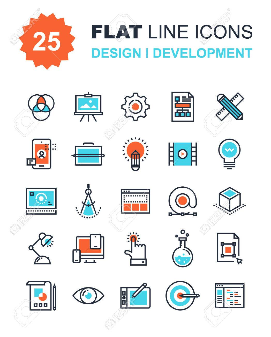 Abstract vector collection of flat line design and development icons. Elements for mobile and web applications. - 43549822