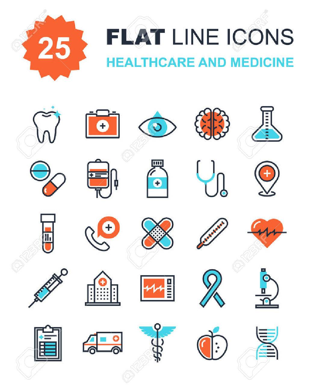 Abstract vector collection of flat line healthcare and medicine icons. Elements for mobile and web applications. Stock Vector - 43549825