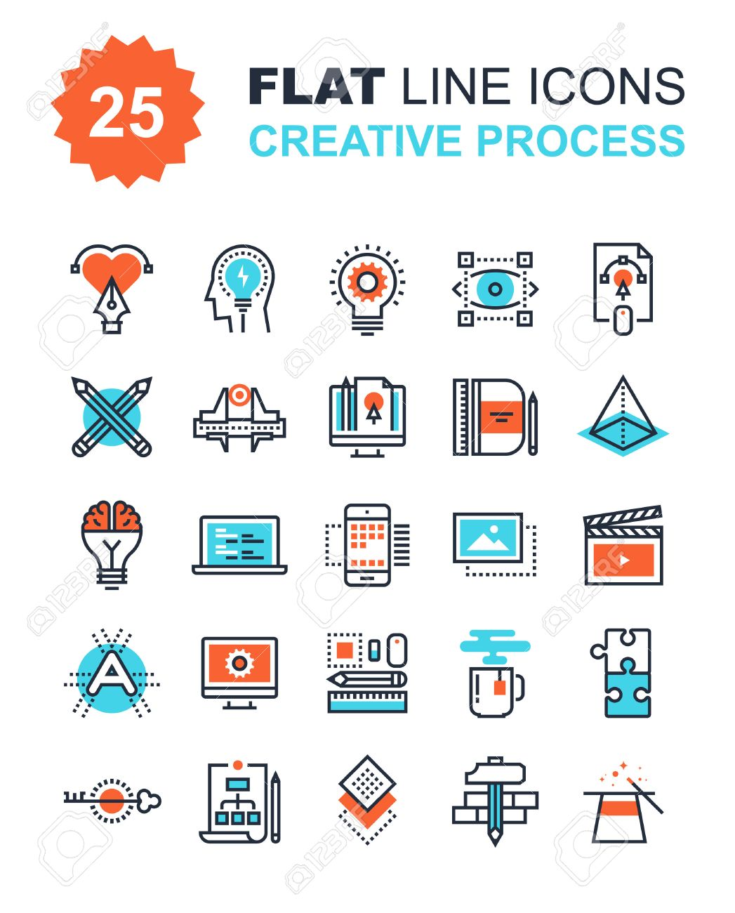 Abstract vector collection of flat line creative process icons. Elements for mobile and web applications. - 43870769