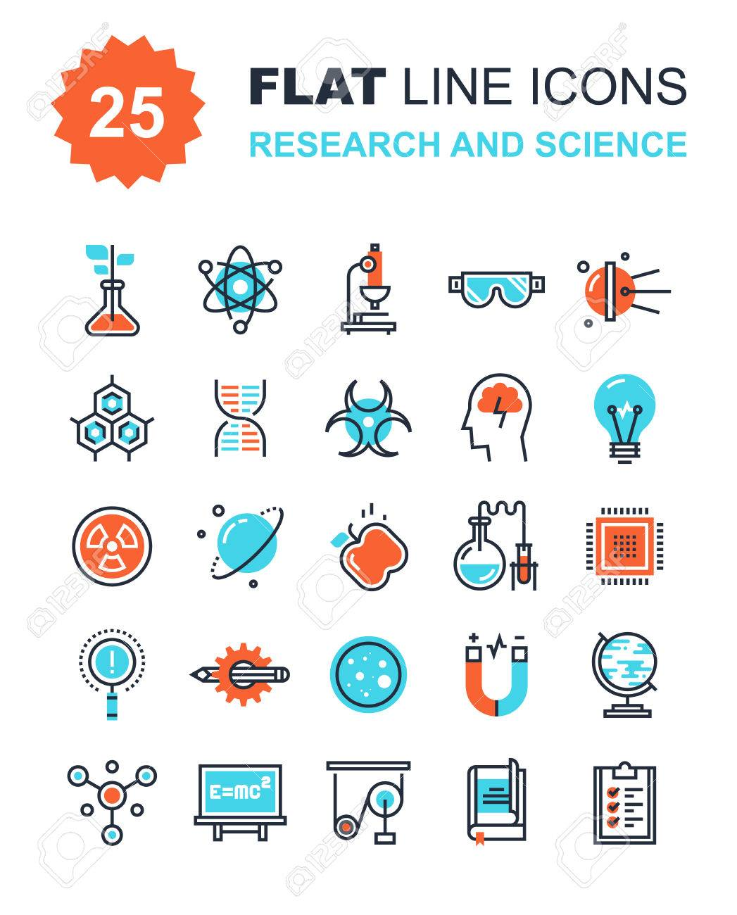 Abstract vector collection of flat line research and science icons. Elements for mobile and web applications. - 43870772