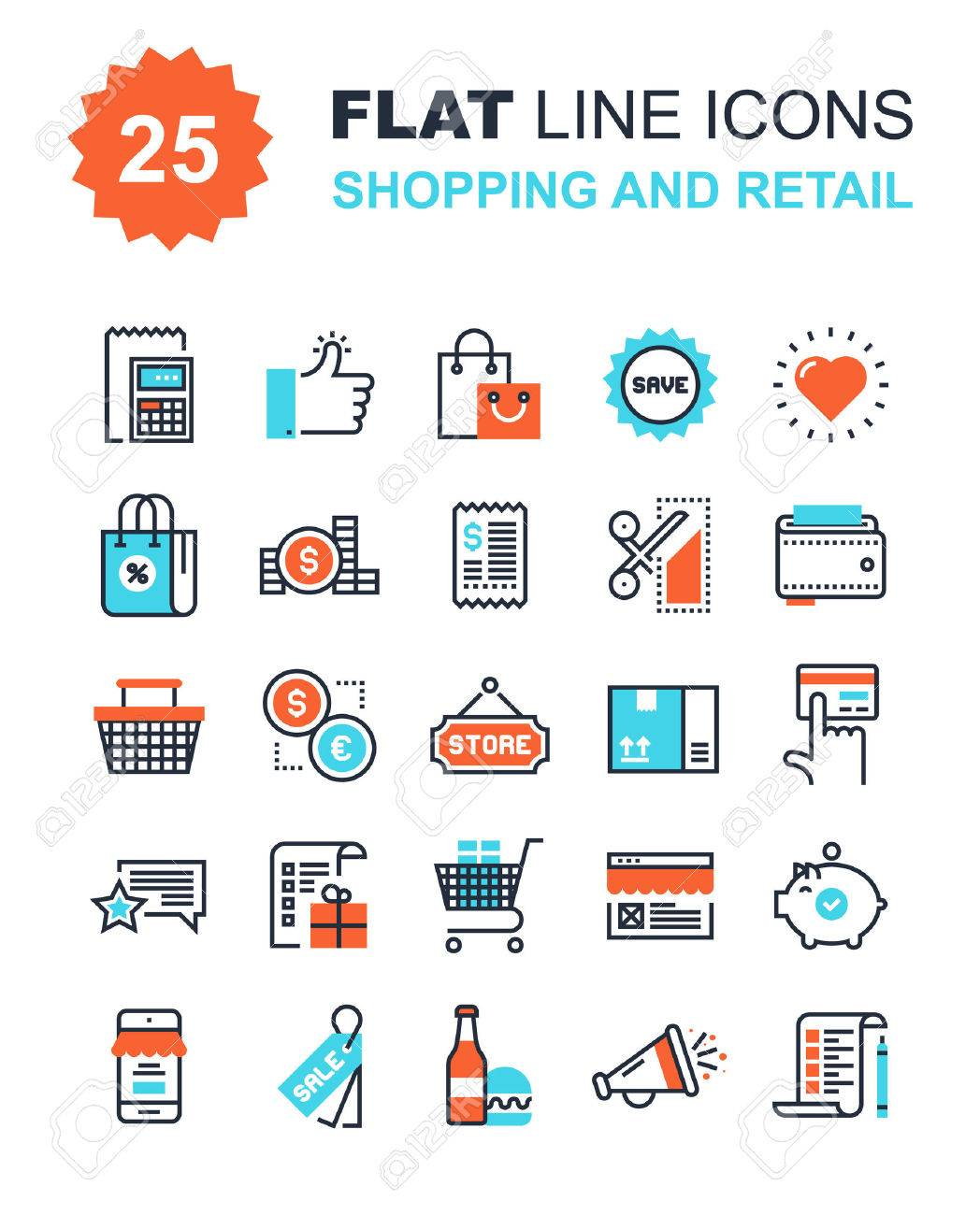Abstract vector collection of flat line shopping and retail icons. Elements for mobile and web applications. - 44927555