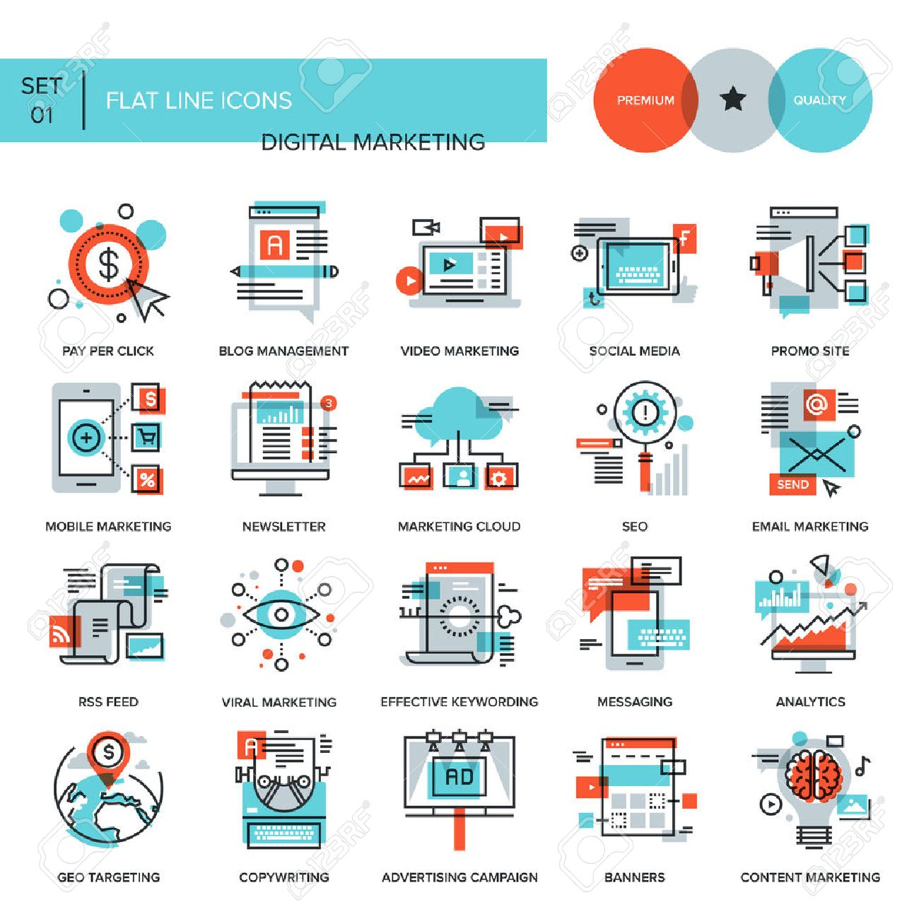 Abstract vector collection of flat line digital marketing icons. Elements for mobile and web applications. - 44927556