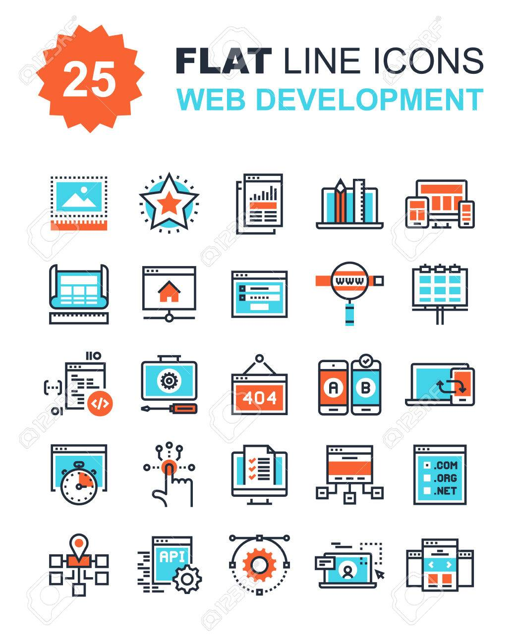 Abstract vector collection of flat line web development icons. Elements for mobile and web applications. - 44927557