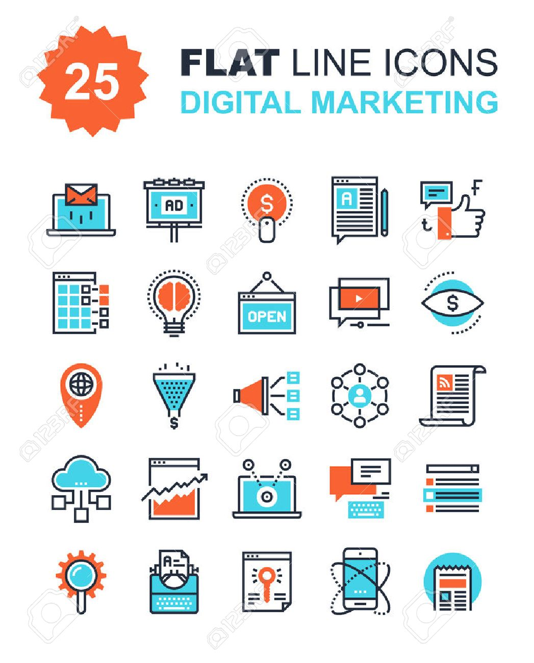 Abstract vector collection of flat line digital marketing icons. Elements for mobile and web applications. - 44927927