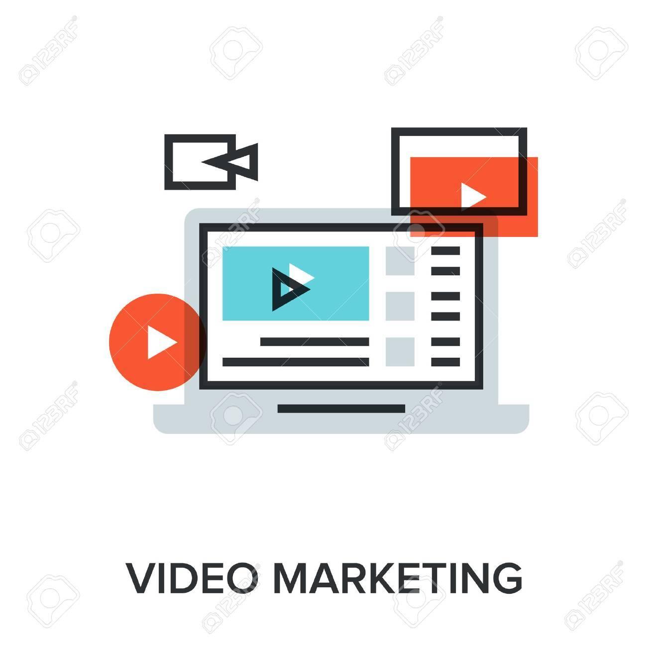 Vector illustration of video marketing flat line design concept. - 46347177