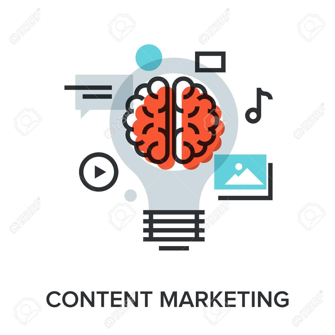Vector illustration of content marketing flat line design concept. - 46347868