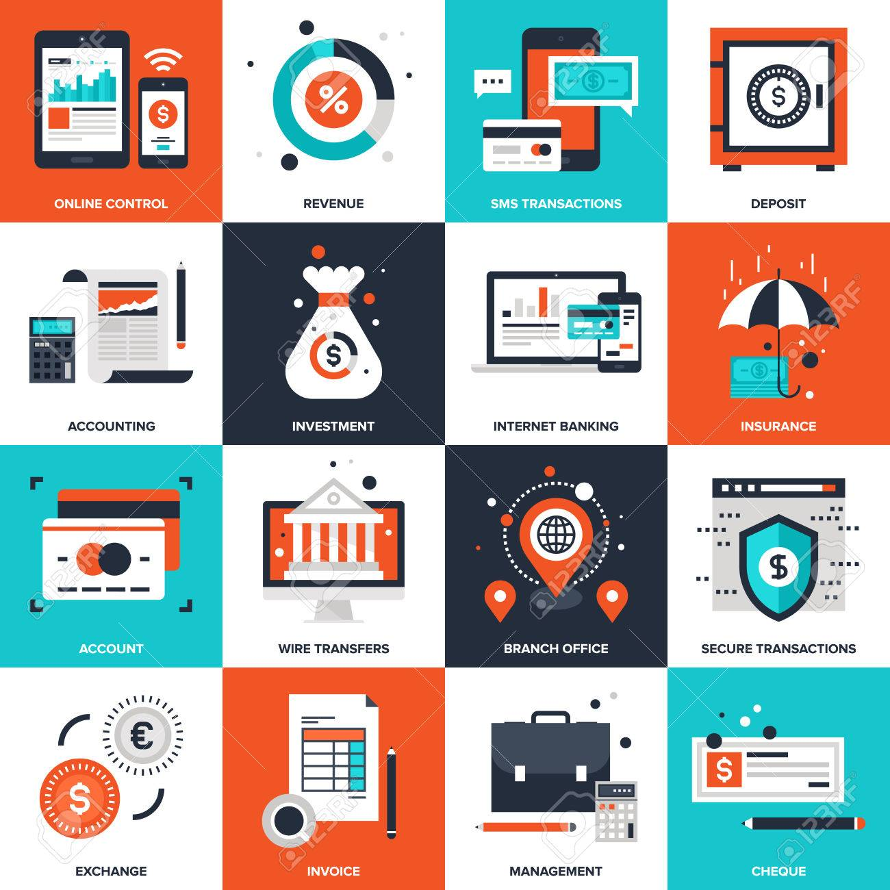 Abstract vector collection of flat banking and money icons. Elements for mobile and web applications. - 46348663