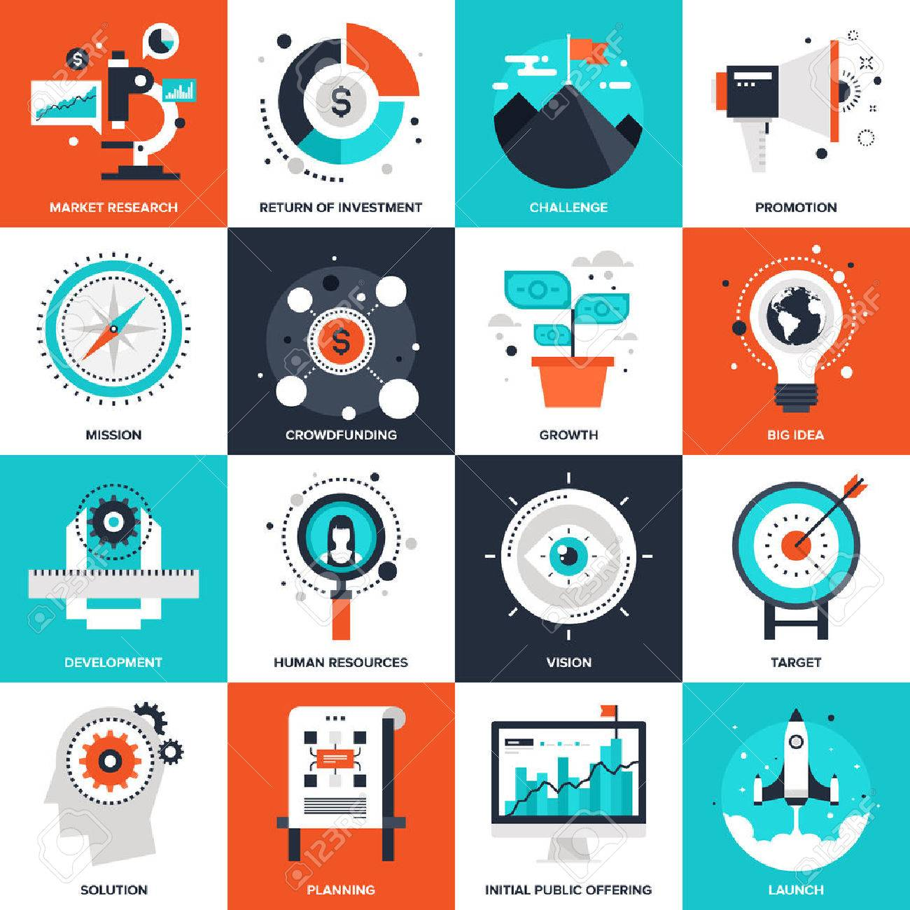 Abstract vector collection of flat startup and new business icons. Elements for mobile and web applications. - 46348673