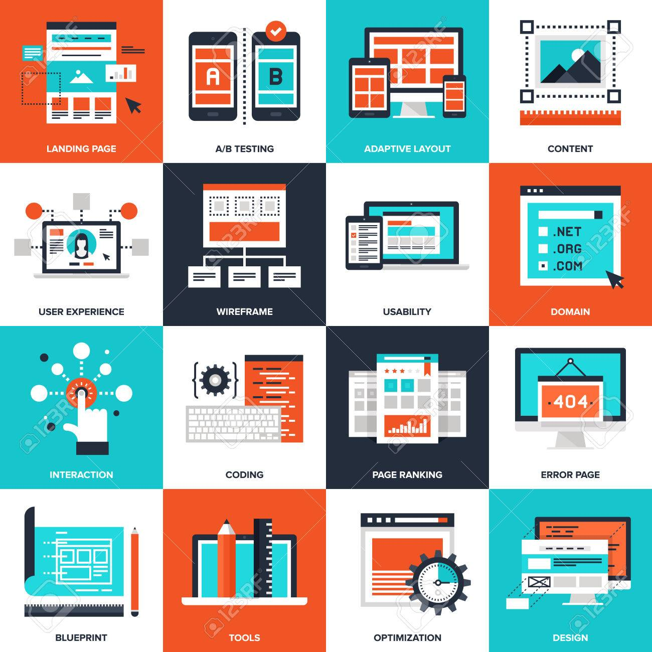 Abstract vector collection of flat web development icons. Elements for mobile and web applications. - 46348677