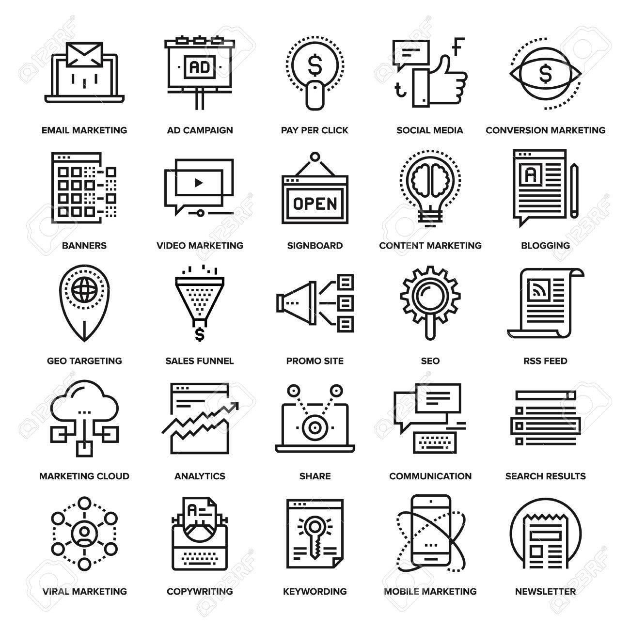 Abstract vector collection of line digital marketing icons. Elements for mobile and web applications. - 47621189