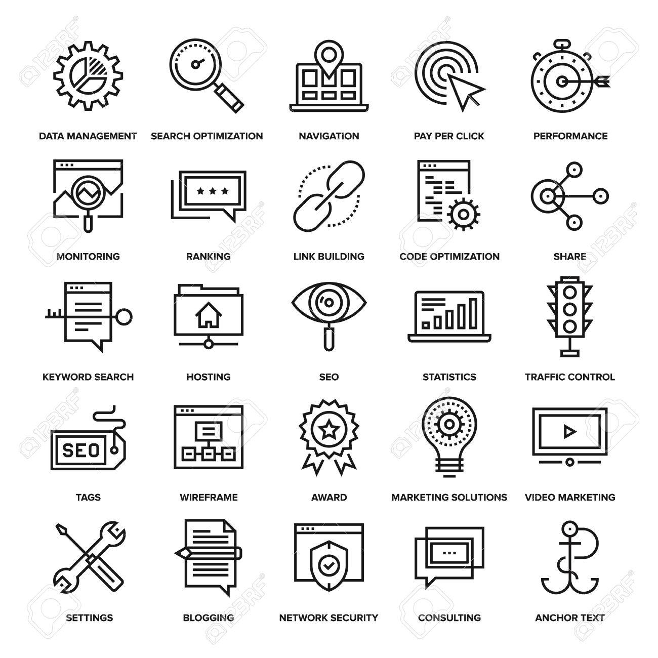 Abstract vector collection of line SEO and web optimization icons. Elements for mobile and web applications. - 47622215