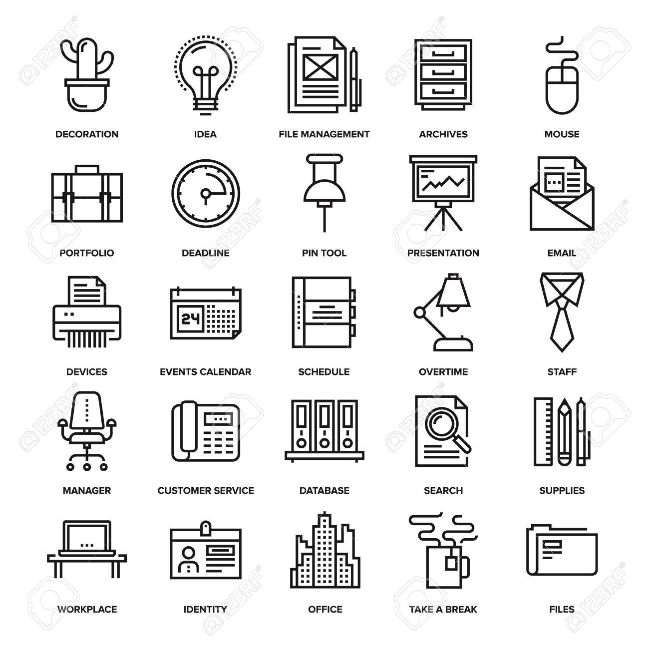 Abstract vector collection of line office and business icons. Elements for mobile and web applications. - 47622218