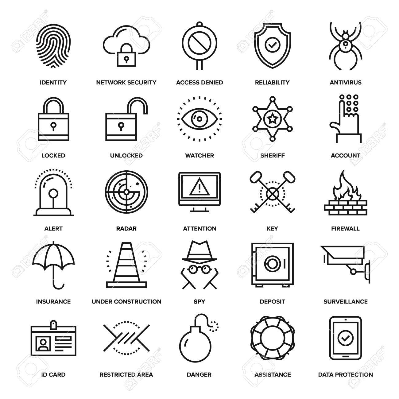 Abstract vector collection of line security and protection icons. Elements for mobile and web applications. - 47622219