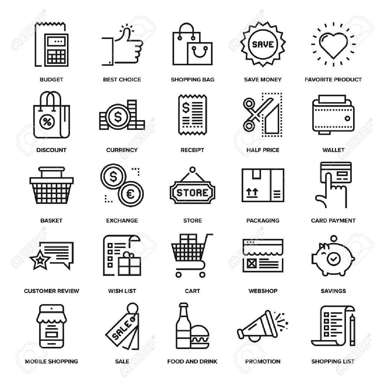 Abstract vector collection of line shopping and retail icons. - 47622432