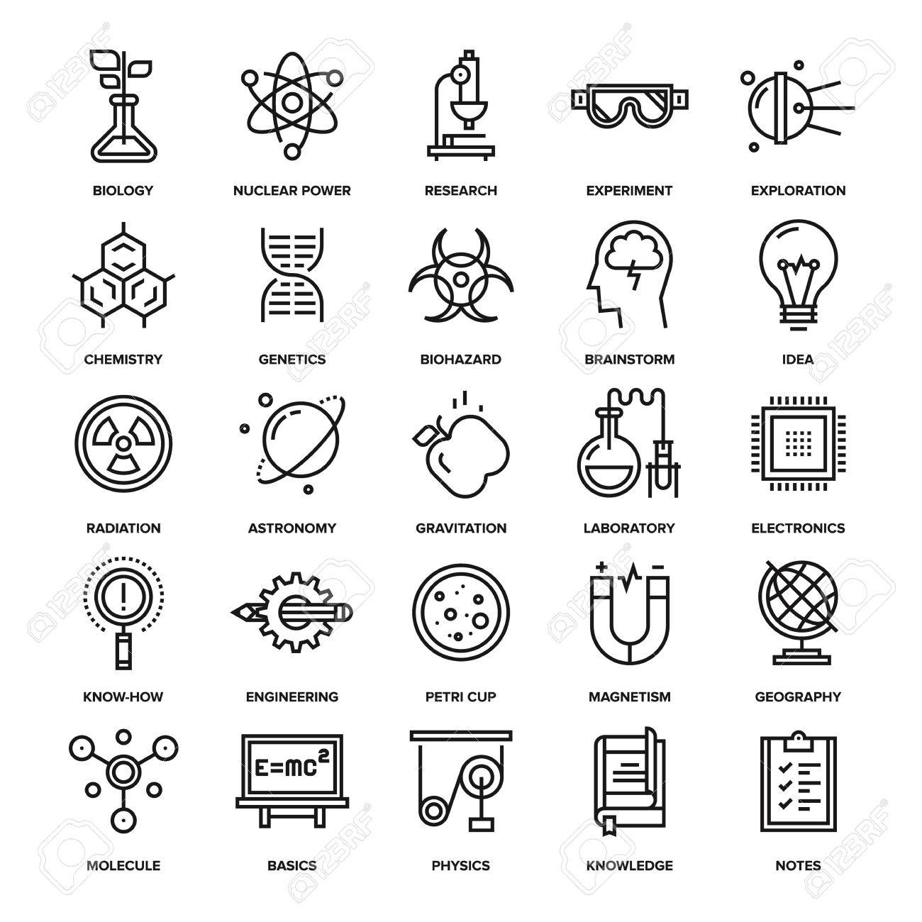 Abstract vector collection of line research and science icons. Elements for mobile and web applications. - 47622437