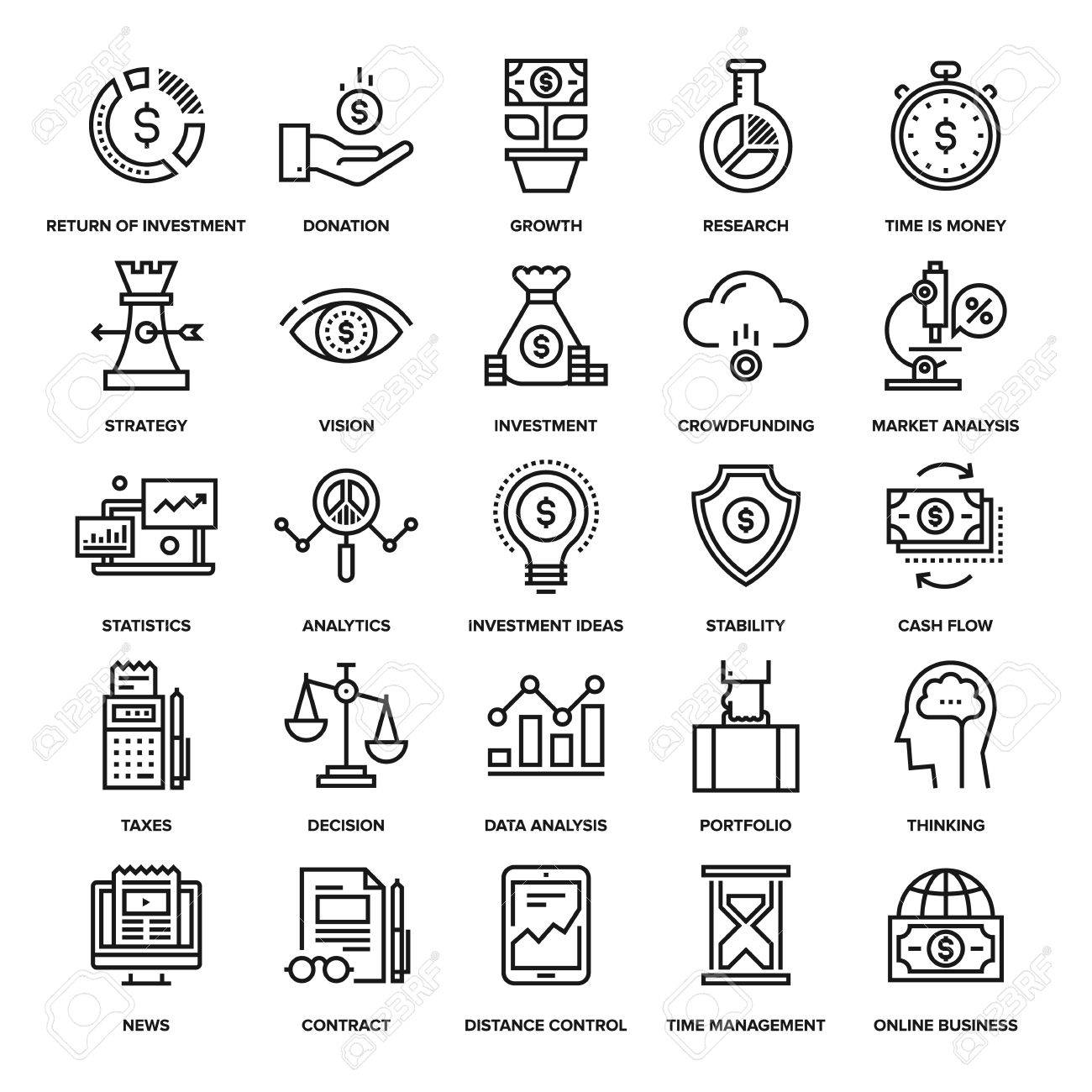Abstract vector collection of line analytics and investment icons. Elements for mobile and web applications. - 47622440