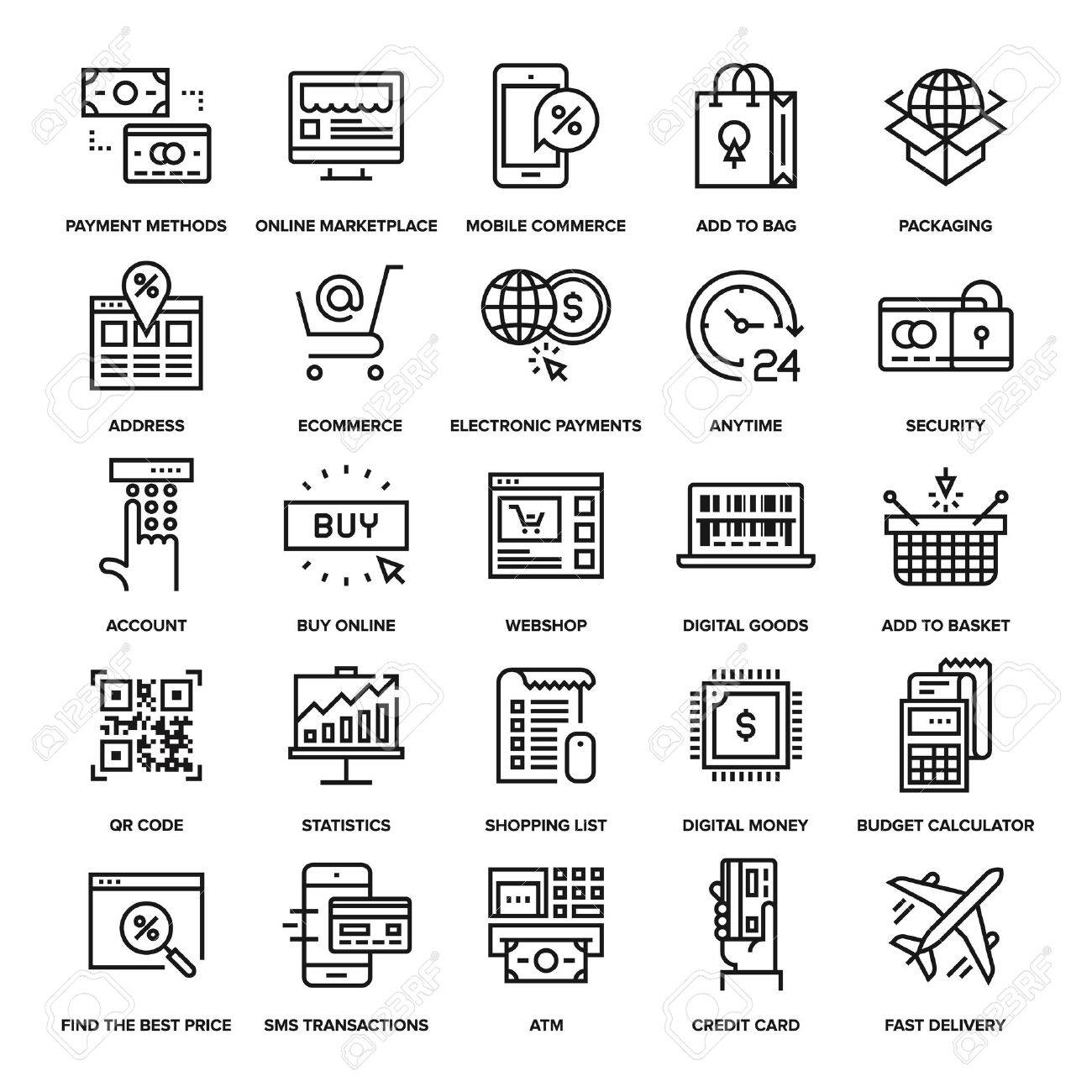 Abstract vector collection of line digital commerce icons. - 47622636
