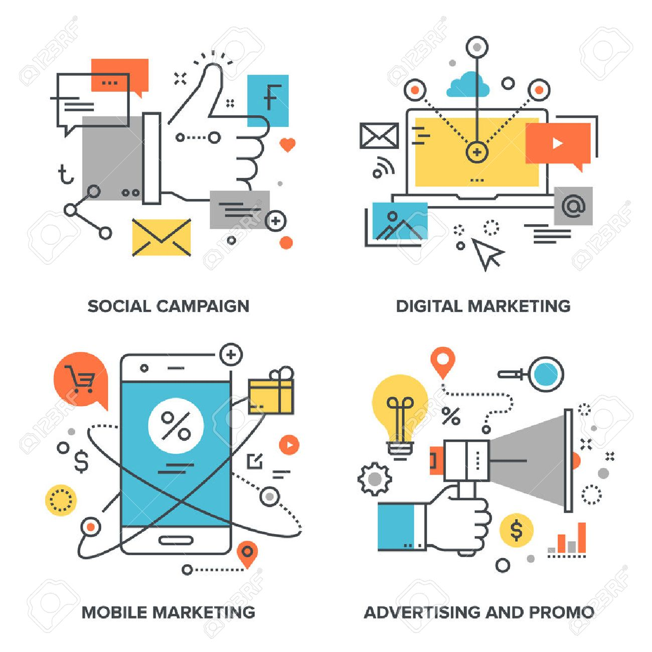 Vector set of conceptual flat line illustrations on following themes - social campaign, digital marketing, mobile marketing, advertising and promo - 50651394