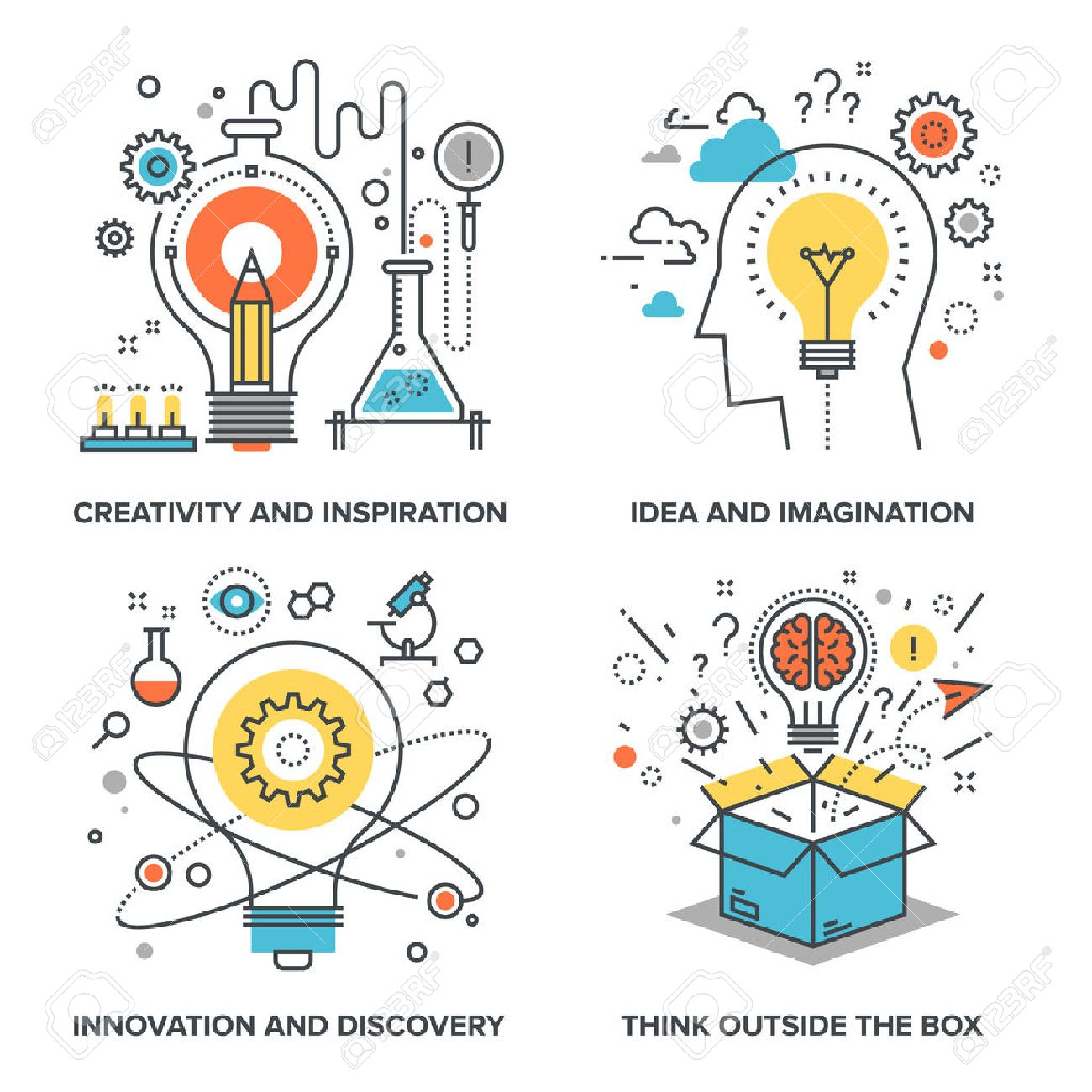 Vector set of conceptual flat line illustrations on following themes - creativity and inspiration, idea and imagination, innovation and discovery, think outside the box - 50651405