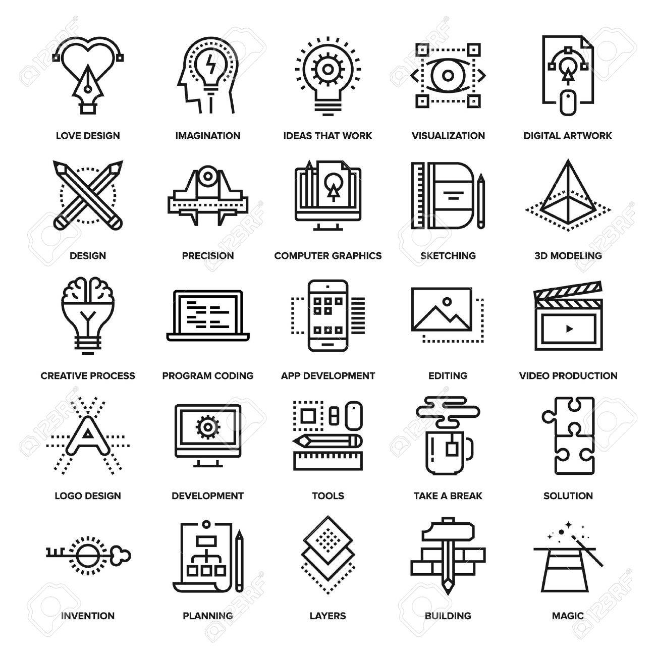 Abstract vector collection of line creative process icons. Elements for mobile and web applications. - 50654286