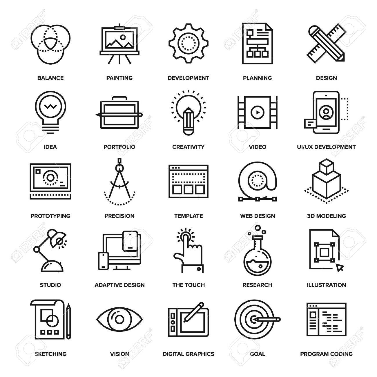 Abstract vector collection of line design and development icons. Elements for mobile and web applications. - 50654297