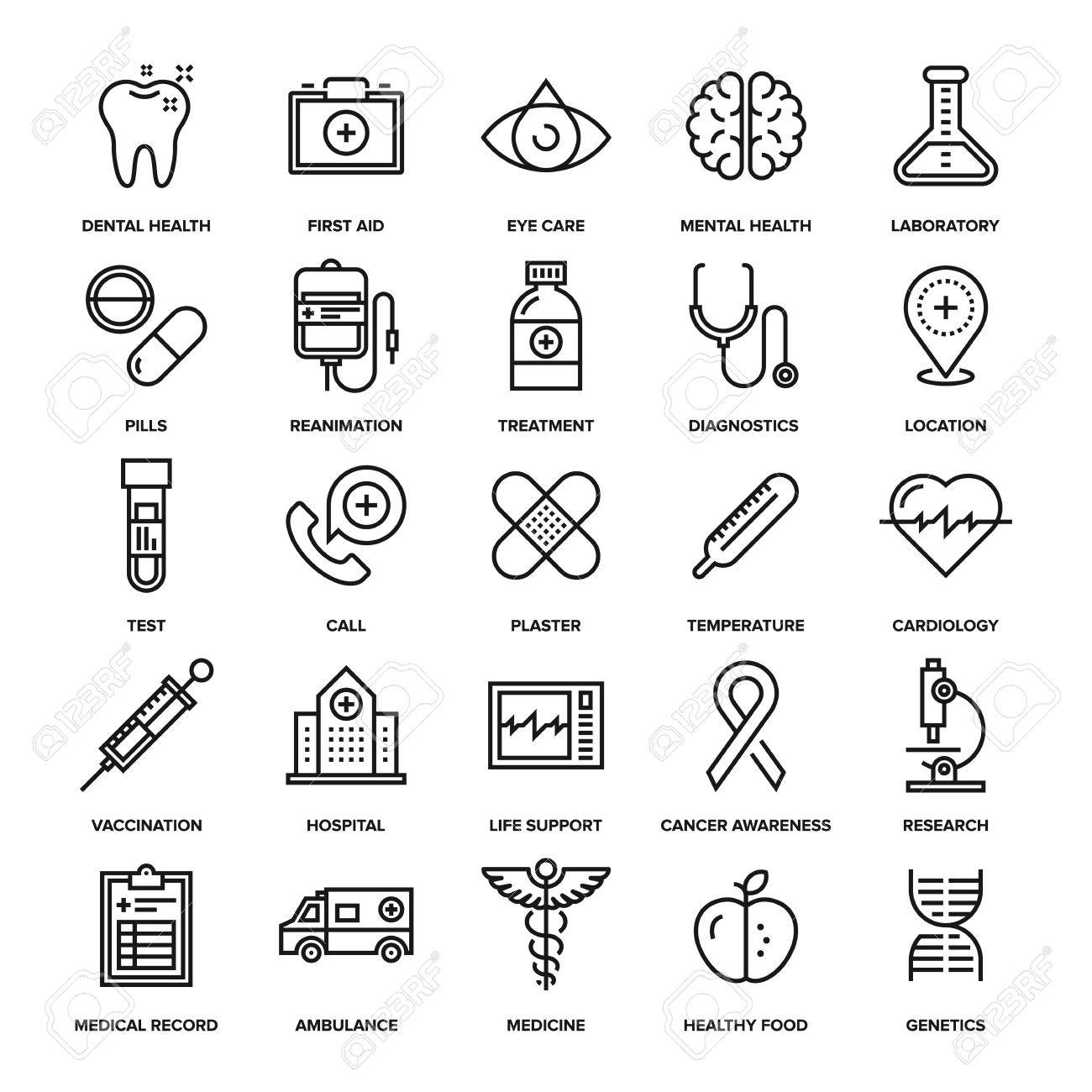 Abstract vector collection of line healthcare and medicine icons. Elements for mobile and web applications. - 50654298