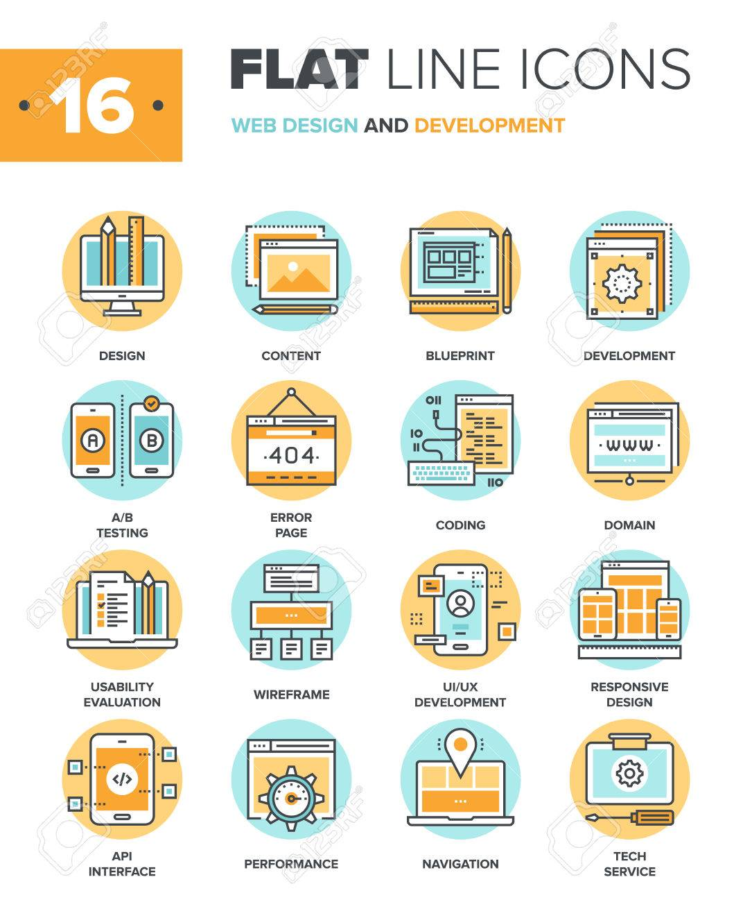 Abstract vector collection of flat line web design and development icons. Elements for mobile and web applications. - 50654338
