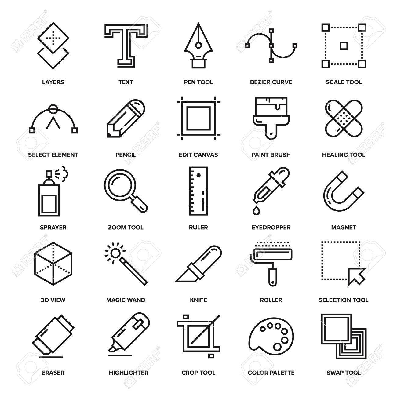 Abstract vector collection of line design tools icons. Elements for mobile and web applications. - 54104154