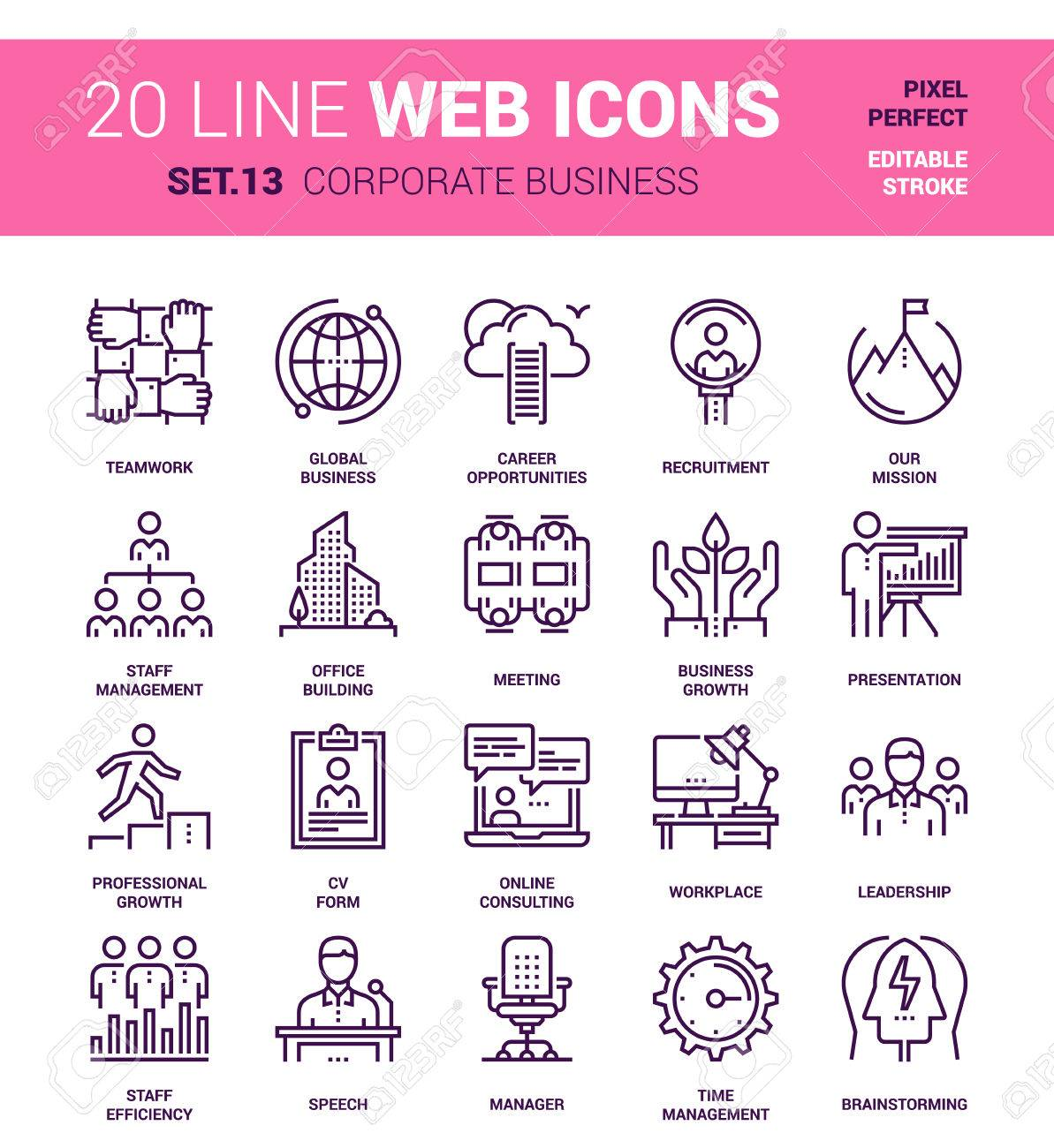 set of corporate business line web icons. Each icon with adjustable strokes neatly designed on pixel perfect 64X64 size grid. Fully editable and easy to use. - 54381258