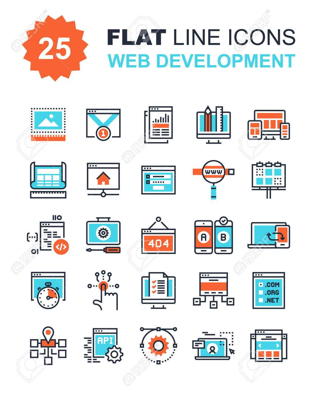 Abstract vector collection of flat line web development icons. Elements for mobile and web applications. - 57838823