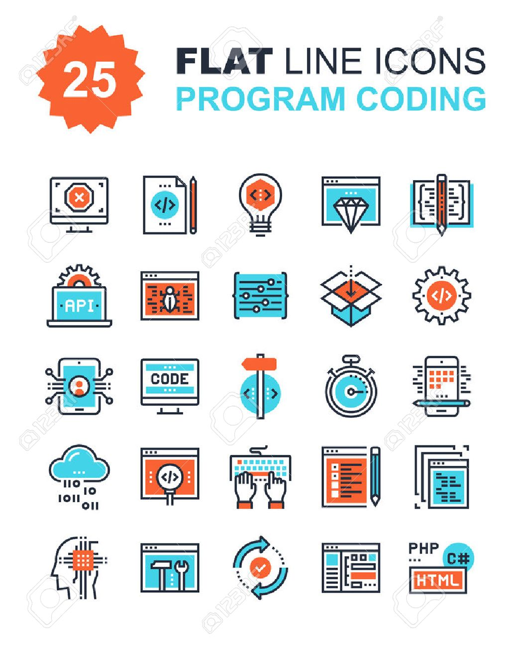 Abstract vector collection of flat line program coding icons. Elements for mobile and web applications. - 57857042