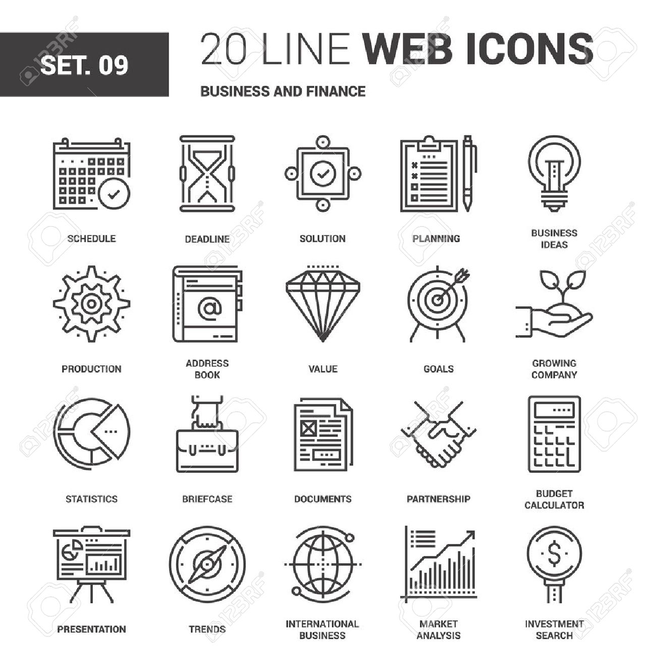 Vector set of business and finance line web icons. Each icon with adjustable strokes neatly designed on pixel perfect 64X64 size grid. Fully editable and easy to use. - 60910269