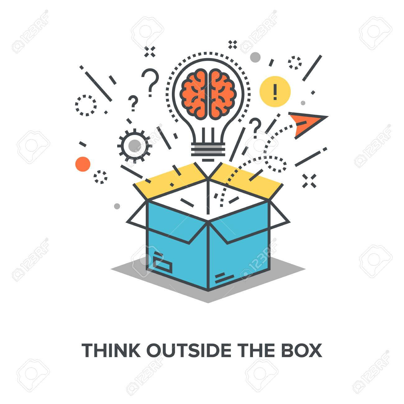 Vector illustration of think outside the box flat line design concept. - 60910244