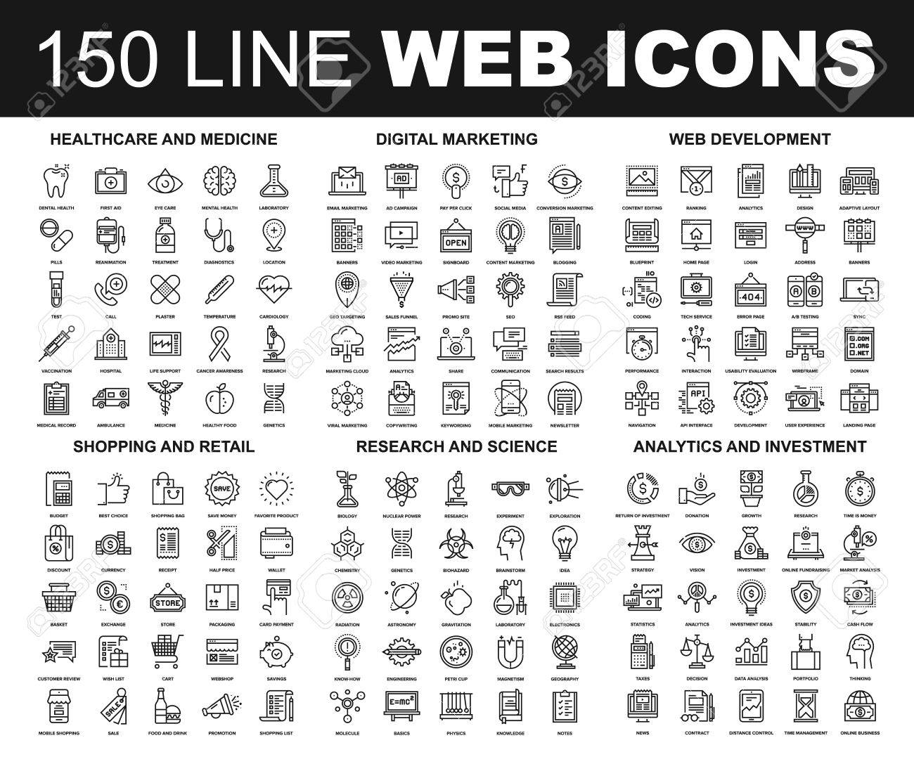 Vector set of 150 flat line web icons on following themes - healthcare and medicine, digital marketing, web development, shopping and retail, research and science, analytics and investment - 64952435