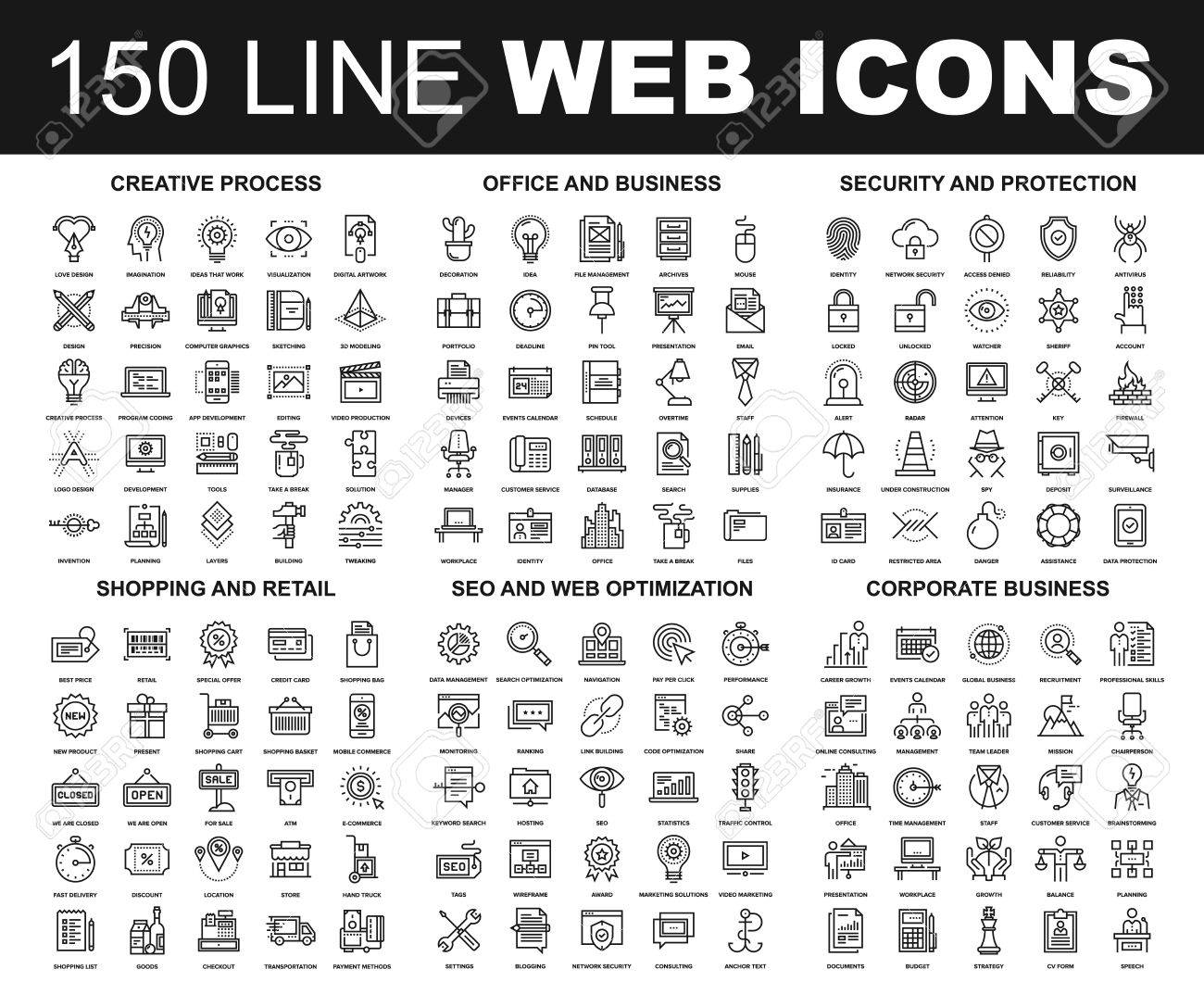 Vector set of 150 flat line web icons on following themes - creative process, corporate business, office and business, security and protection, shopping and retail, SEO and web optimization - 64952438