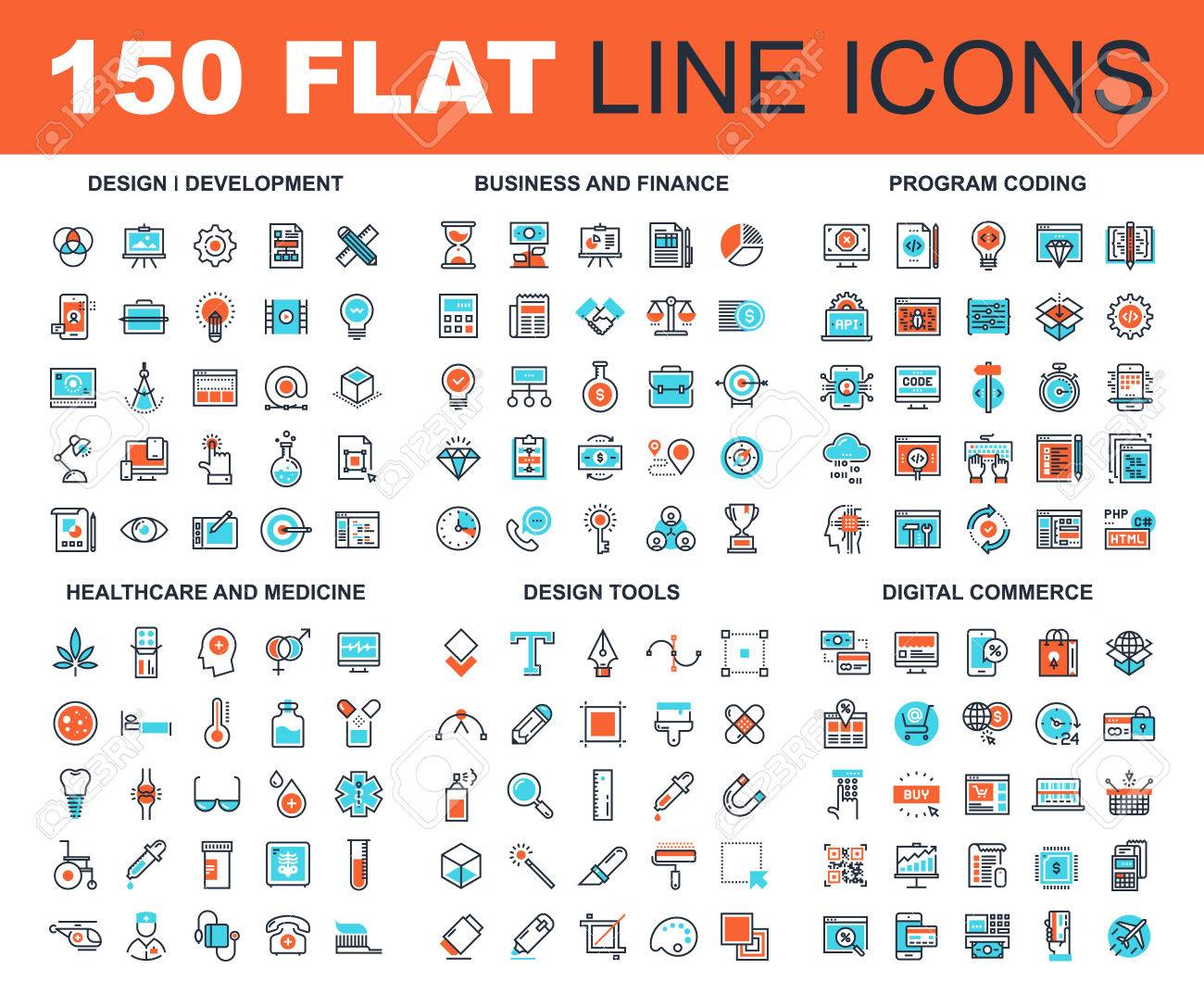 Vector set of 150 flat line web icons on following themes - design and development, business and finance, program coding, healthcare and medicine, design tools, digital commerce - 67960406