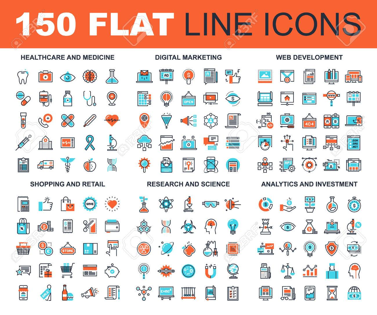 Vector set of 150 flat line web icons on following themes - healthcare and medicine, digital marketing, web development, shopping and retail, research and science, analytics and investment - 65721327