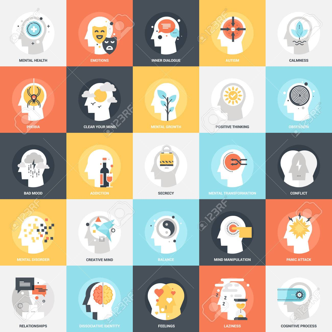Modern flat vector illustration of human psychology icon design concept. Icon for mobile and web graphics. Flat symbol, logo creative concept. Simple and clean flat pictogram - 68977836