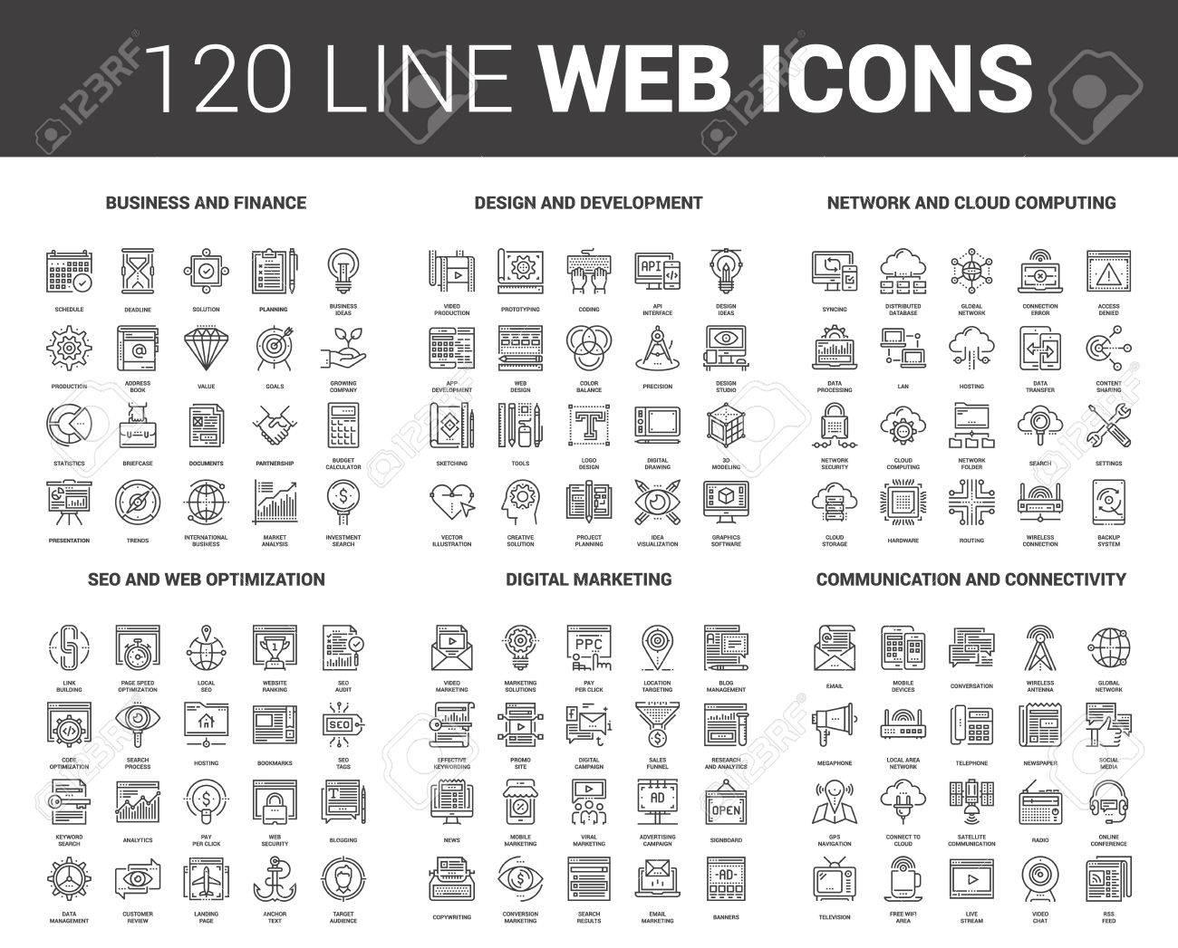 Flat Line Web Icons - 82678210