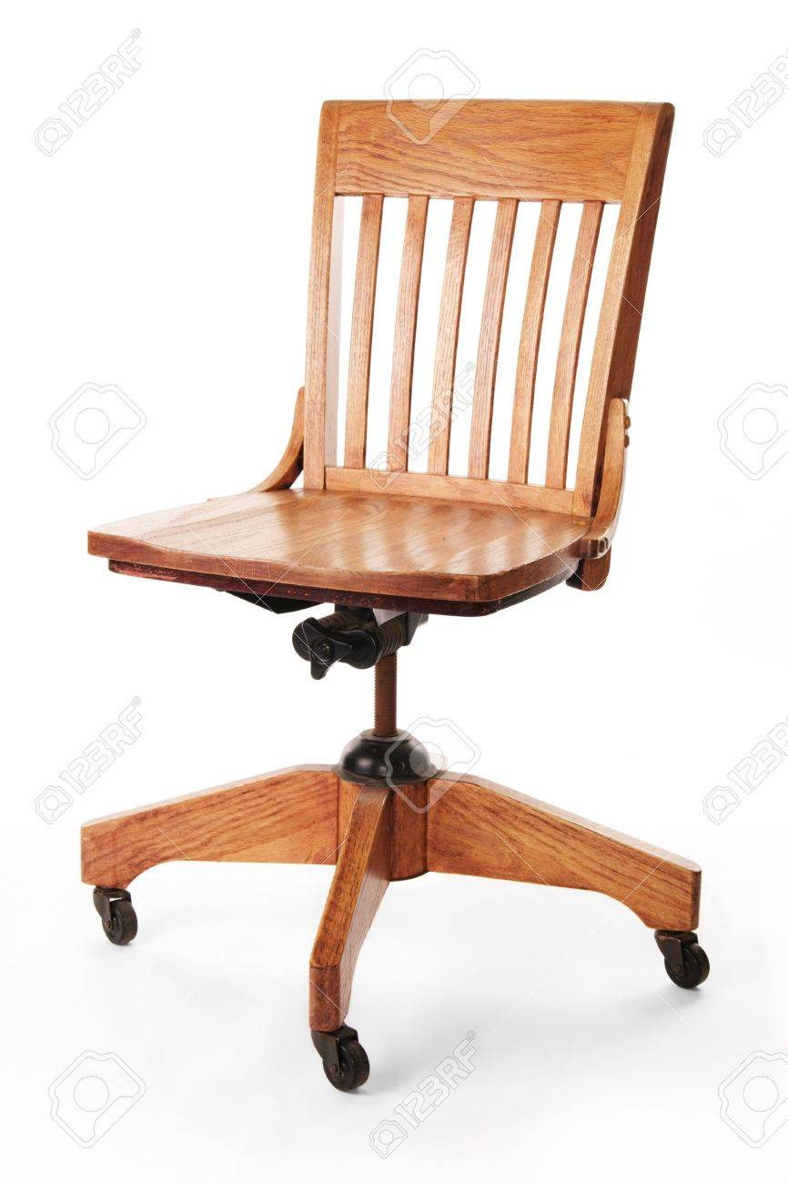 Armless bankers chair - Wooden Mission Style Banker S Desk Chair Isolated Against White Background Stock Photo