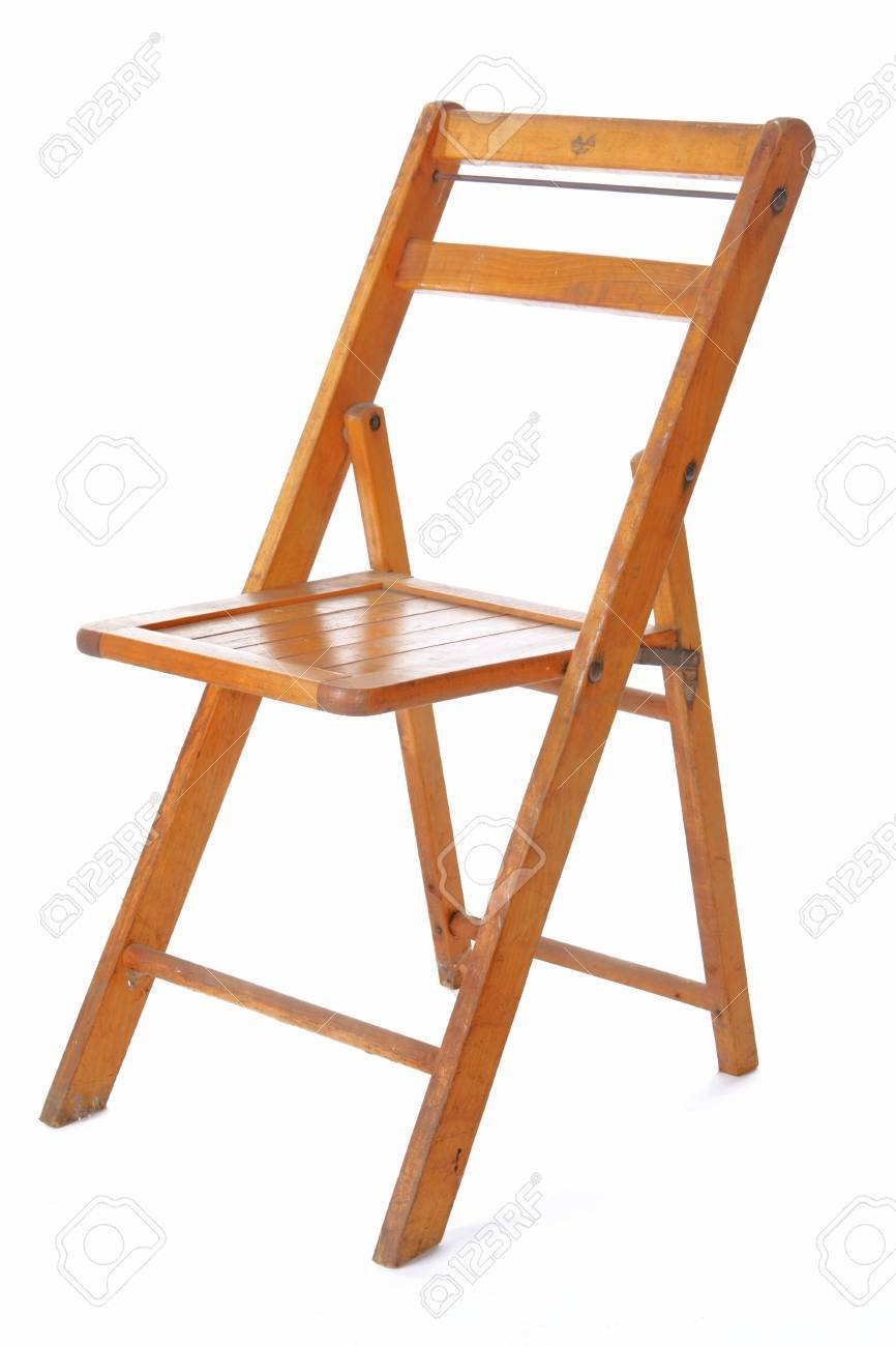 Vintage Wooden Folding Chairs.Retro Wooden Folding Chair Isolated Against White Background