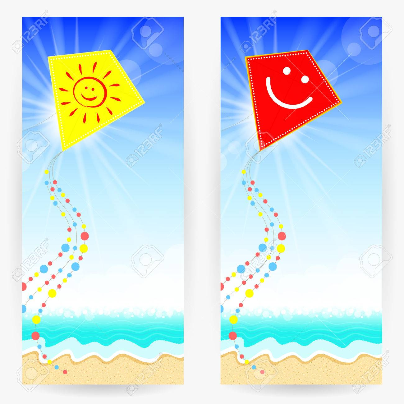 Two Summer Backgrounds With Sandy Beach Blue Sea Bright Sky And Kites Yellow